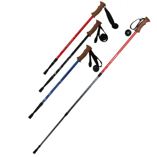 3 Section Straight Shank Cork Alpenstock Super Light Retractable Aluminum Walking Stick Hiking Trekking Poles, Outdoor Stuffs