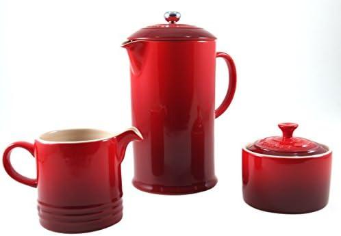 Le Creuset Cerise Cherry Stoneware French Press Coffee Maker