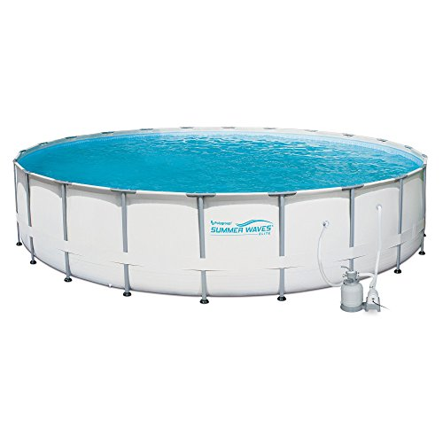 Summer Waves Elite 24' Ft. Metal Frame Above Ground Pool Set w/ Sand Filter Pump by Summer Waves