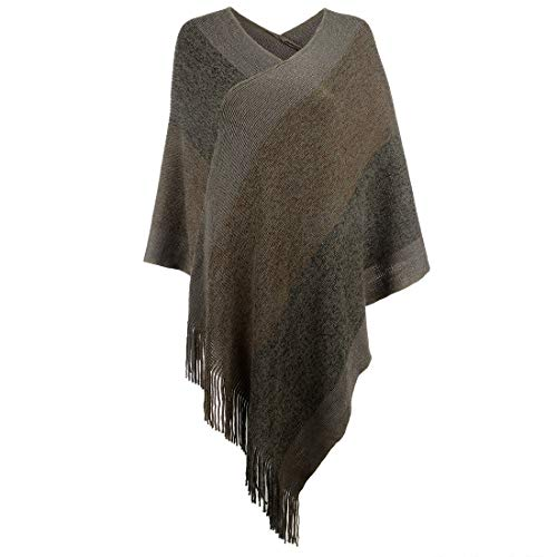 (Women's Elegant Knitted Shawl Poncho with Fringed V-Neck Striped Sweater Pullover Cape Gifts for Mom )