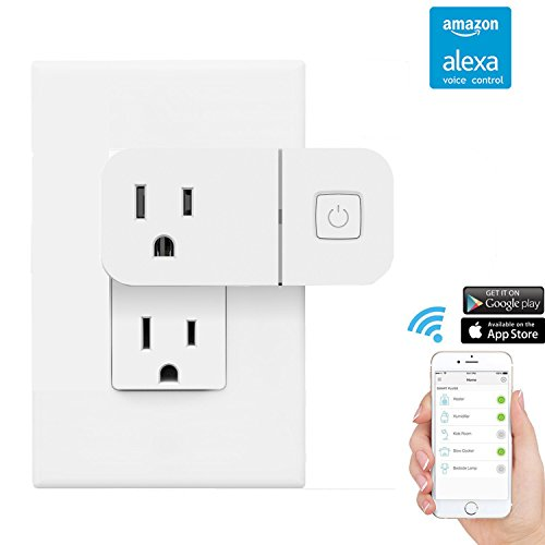 Smart WiFi Plug, Greewe Mini Smart Outlet ,Timing Wifi Light Switch with 2.1 A USB Port,Work With Alexa & Google Home, -  WE-ABS-03