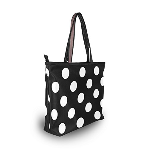 White Women Bag Shoulder Tote Large Polka Classic MyDaily Handbag Black Dot PXtqdWf