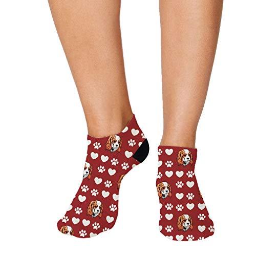 Cavalier King Charles Spaniel Pattern #5 Men-Women Adult Ankle Socks Crazy Novelty Socks Polyester & Polyester Blend Single Sock