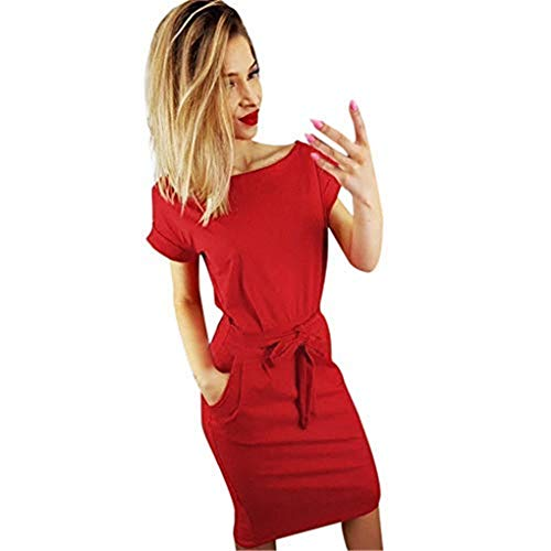 TANGSen Womens Casual Pocket Solid Summer Dress Ladies Short Sleeve Fashion Evening Party Mini Dress(Red,L)