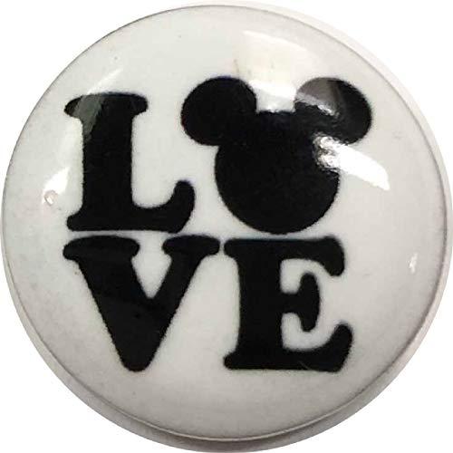(Black White Mickey Mouse Love Fan Enamel 20mm Snap Charm for Ginger)