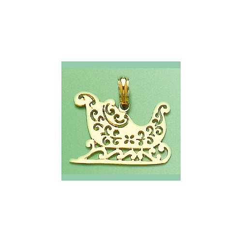 14k Yellow Gold Holiday Charm Pendant, Christmas Sleigh Cut-out