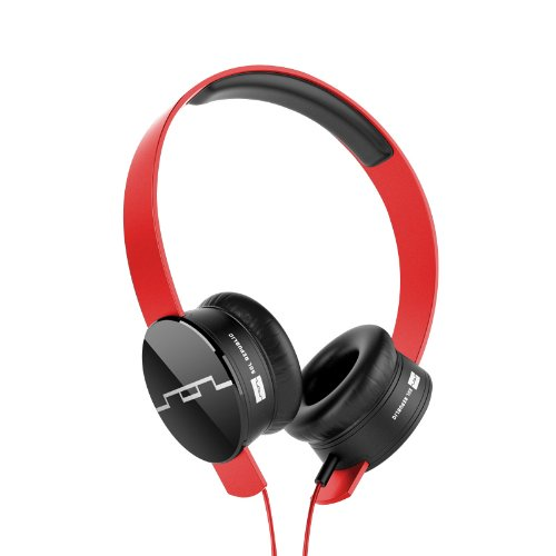 SOL REPUBLIC 1211-03 Tracks On-Ear Interchangeable Headphones with 3-Button Mic and Music Control - Red (Headphones Sol Republic V8 Tracks)