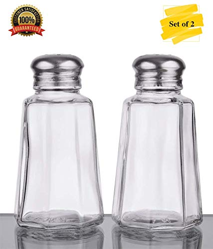 (MM Foodservice Set of 2 Glass Salt and Pepper Shaker with Stainless Steel Mushroom Top, 2-Ounce)