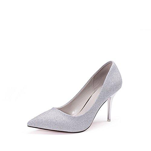 PUMPS Damen High Heels,Spitze Schuhe,Stöckelschuhen,Flacher Schuh für Frauen-B Fußlänge=21.8CM(8.6Inch)