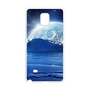 Blue Sky And Moon White Phone Case for Samsung Galaxy Note4