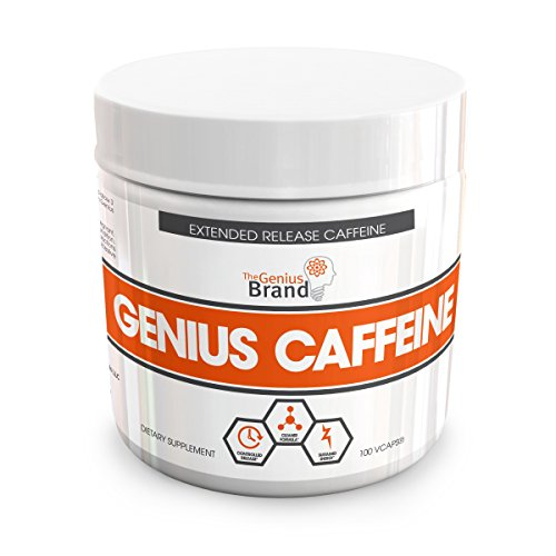GENIUS CAFFEINE – Extended Release Microencapsulated Caffeine Pills, All Natural Non-Crash Sustained Energy & Focus Supplement – Great Preworkout and Brain Booster, 100 veggie capsules