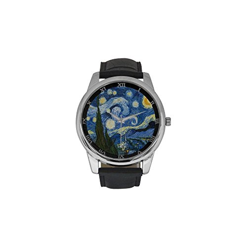 Novelty Gift Vincent Van Gogh Painting Starry Night Men's Leather Strap Large Dial Watch]()