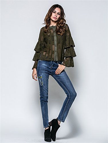 Blouse Chic Manches Sexy Longues Vert Size Casual Taille Transparent lgant Femmes Tops Chemisier Shirt Dames Plus YAMEE Grande T Zpwx1znE