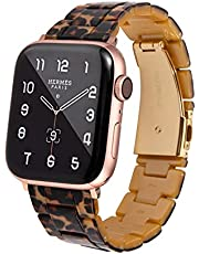 HOPO Compatible with Apple Watch Band 38mm 40mm 42mm 44mm Slim Resin Watch Strap Bracelet For Apple Watch Series 7 Replacement For iWatch Series 6/5/4/3/2/1/SE, Fashion Rose Gold Stainless Steel Buckle Adjustable