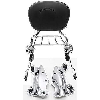 BBUT Adjustable Passenger Backrest Sissy Bar and Luggage Rack W// 4 Four Point Docking Hardware For 2014 2015 2016 2017 2018 2019 Harley Touring Street Glide Road Glide Electra Glide Road King