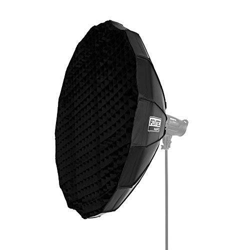 Fovitec StudioPRO – 1x 48 inch Portrait Beauty Dish Softbox w/ Grid Included – [White Interior][For Strobes][Bowens Mount][Easy Assembly]