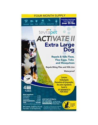 TevraPet Activate II Flea and Tick Prevention for Dogs - Topical, for Dogs Over 55Lbs