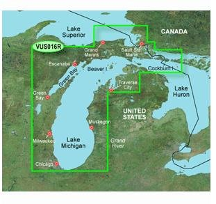 Lake Michigan Sd Card (New Garmin VUS016R - Lake Michigan Huron - SD Card Wider Coverage Areas Lower Prices Rich Details)
