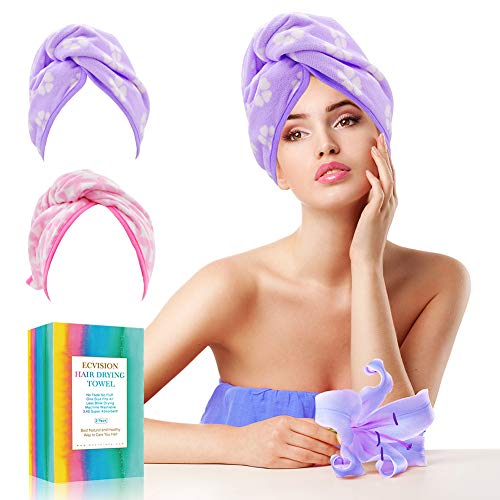 EC VISION Hair Towel Wrap Turban - Ultra Absorbent & Fast Drying Microfiber Towel,Anti-Frizz Wrapped Bath Cap,Large Size Fit All - 11X25.6 Inches (2 Pack)