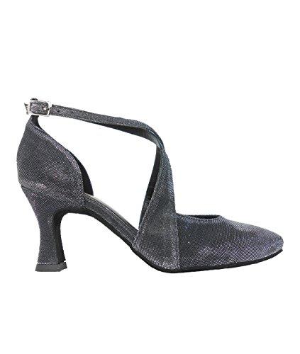 Ritmo Latein Salsa Rumba Tango Damen Tanz Schuhe VL135 mit Chromledersohle, Absatz 7 cm Schwarz
