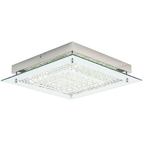 - Auffel Crystal Flush Mount Ceiling Lamp,Morden11-inch Square LED Chandelier,100W Incandescent Bulbs Equivalent,4000K 1320ML Daylight White Lighting for Balcony,Dining Room,Hallway,Bedroom