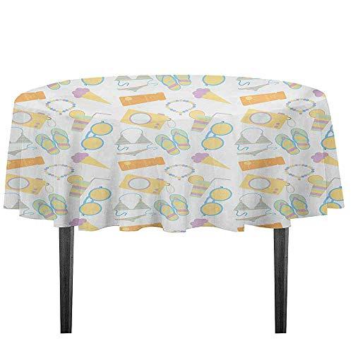 kangkaishi Summer Washable Tablecloth Beach Themed Collection Pastel Toned Flip Flops Bikini Ice Cream Lemonade and Camera Dinner Picnic Home Decor D55.11 Inch Multicolor