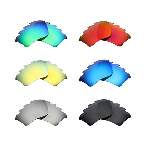 Mryok 6 Pair Polarized Replacement Lenses for Oakley Half Jacket XLJ Vented Sunglass - Stealth Black/Fire Red/Ice Blue/Silver Titanium/Emerald Green/24K Gold by Mryok