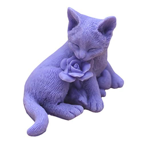 Grainrain Handcrafted 3D Cat Rose Soap Mold Silicone Candle Wax Resin Mould Handmade Mold