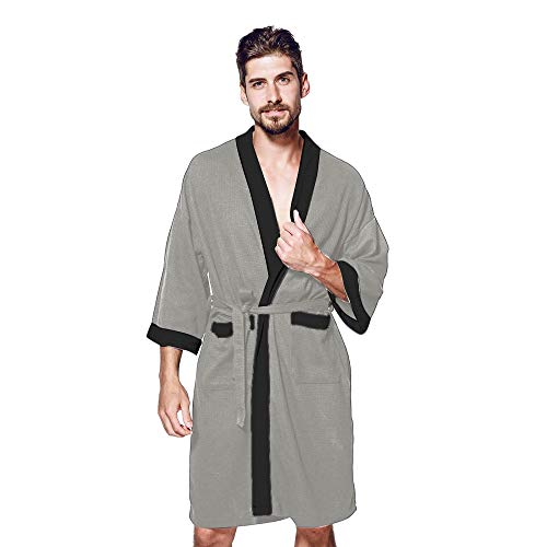 TOPUNDER Men Winter Sleepwear Satin Robe Long Sleeve Nightwear Pocket Tops Blouse Coat Dark Gray
