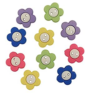 """Botones Galore """"diseño de flores de"""" recipiente de plástico resistente y diseño elegante botón, Multi-color"""