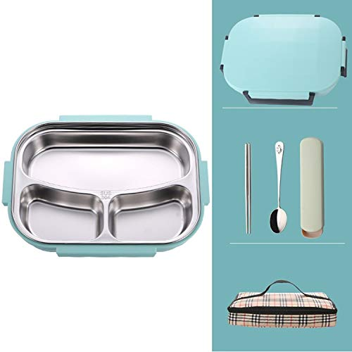 PAPWOO Leakproof Lunch Box Stainless Steel Thermos Thermal Bento Box With Bag School Office Picnic Insulated Japanese Style Food Container For Kids Women Men Girls Boys (3 Compartments Green)