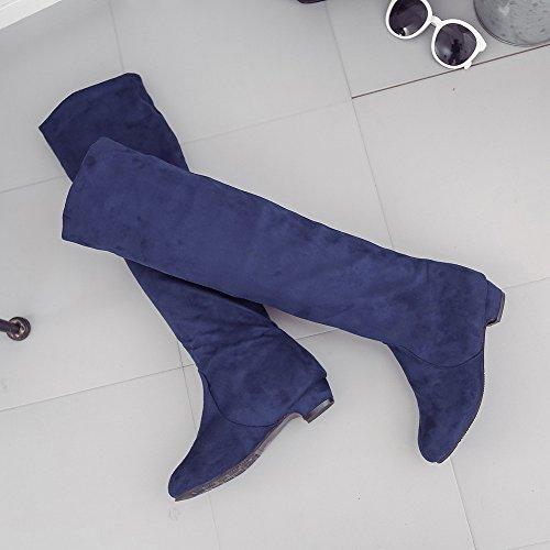 Et Court Chaussures Suede D'automne Hiver Femmes Bleu Plat Long Leg Bottes High Boots Covermason Z1xwdZSq