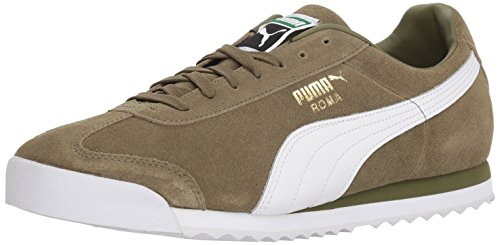 Puma Roma (PUMA Men's Roma Suede Sneaker, Capulet Olive White Team Gold-Amazon Green, 6 M US)