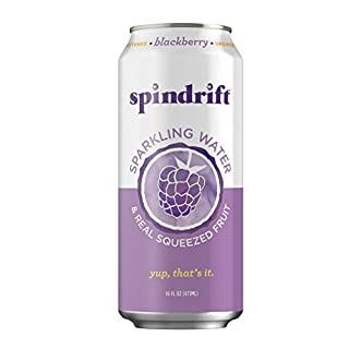 Spindrift Sparkling Water, Blackberry Flavored, Made with Real Squeezed Fruit, 16 Fl Oz (Pack of 12) (Only 17 Calories per Seltzer Water Can)