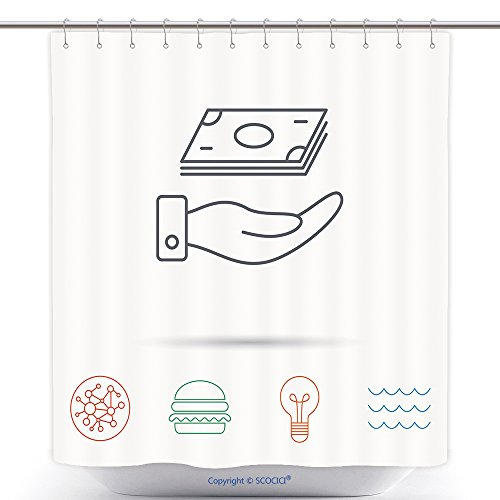 Funky Shower Curtains Save Money Icon Hand With Cash Sign Investment Or Savings Symbol Global Connect Network Ocean 350695457 Polyester Bathroom Shower Curtain Set With (Halloween Connect The Dot Pages)