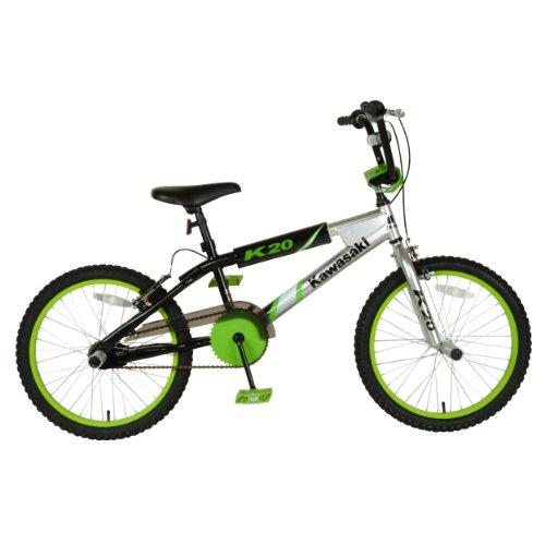 Kawasaki BMX Kid's Bike, 20 inch Wheels, 11.25 inch Frame, Boy's Bike, Silver/Black