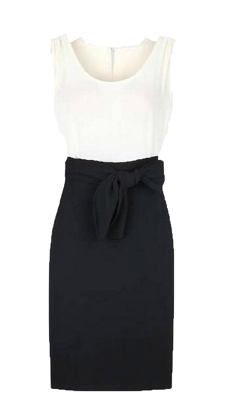 XQS Womens Splice Colors Back Slit With Belt Sleeveless Dress
