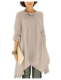 BIUBIU Women Plus Size Long Sleeve Back Button Pocket Linen Cotton Loose Dress