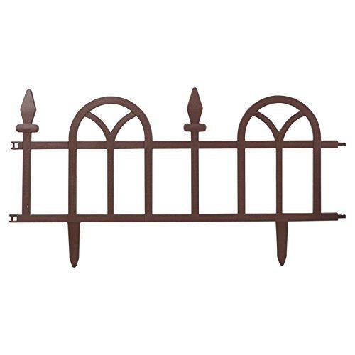 Lifetime Garden Flexible Garden Lawn Grass Edging Picket Border Panel Plastic Wall Fence (Brown - Set Of 12 - 7.2M)