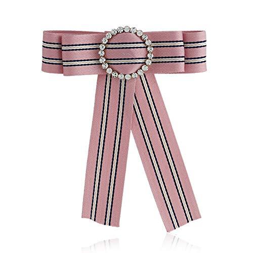 SKZKK Stripe Cloth Neck Bow Tie Pin Broaches for Women Pre-Tied Ribbon for Women Wedding Handmade Craft Dress Pins Brooch Elegant Party Fashion,Pink ()