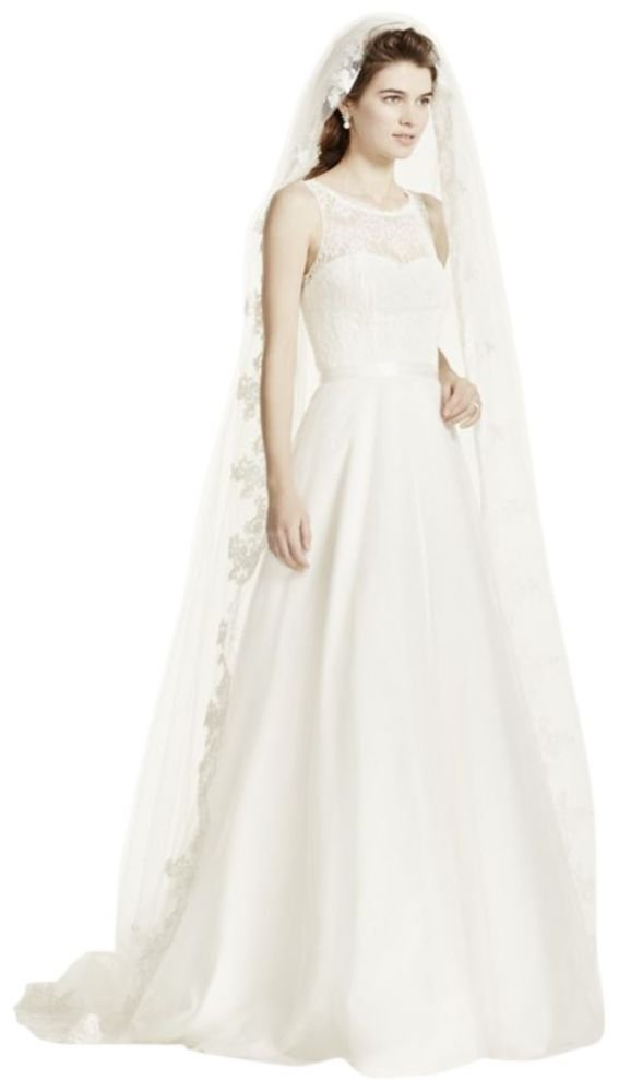 One Tier Cathedral Veil with Lace Embroidery Style FFSV524, White