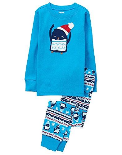 Gymboree Little Boys' 2 Piece Cotton Tight-Fit Pajamas, Blue Penguin, (Fits Penguin)