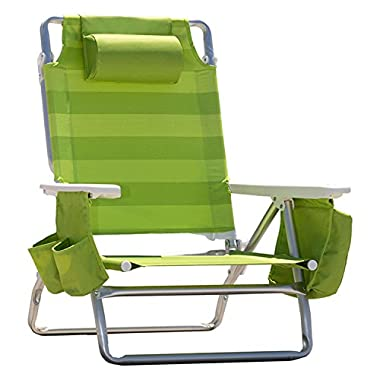 Nautica Reclining Portable Beach Chair with Insulated Cooler (Lime Green Stripe)
