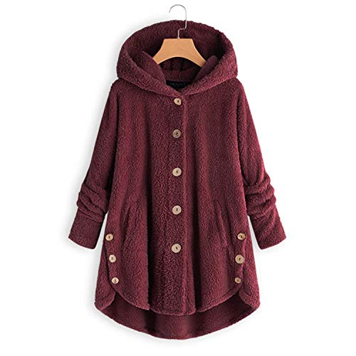 Vintage Warm 2019 Hooded Long SLE on Split Party Outwear Coats Fe,Burgundy,L -
