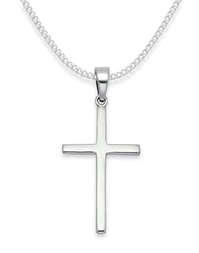 Sterling Silver Cross Necklace - ON SILVER CHAIN - Size: 27mm - Gift Boxed Silver Cross Pendant 8156