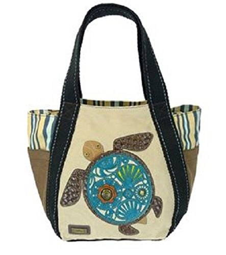 Chala Carryall Zip Tote, Canvas Handbag, Top Zipper, Animal Prints (Sea Turtle-Sand)