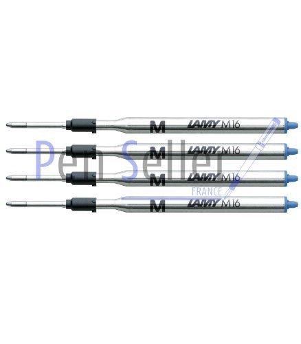 Lamy: Großraum-Kugelschreibermine M16: Farbe: blau, Strichbreite: M, 4er-Set.