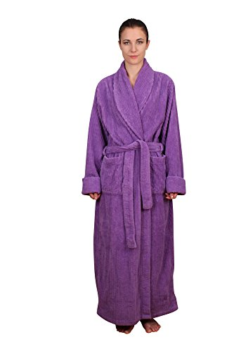 NDK New York Women's Chenille Full Length Robe -S/M Lilac (Chenelle Fabric)