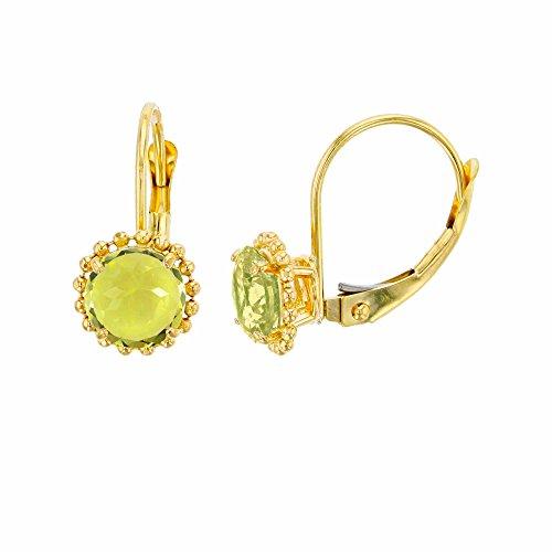 - 10K Yellow Gold 6mm Round Lemon Quartz Center Stone Bead Frame Leverback Earring