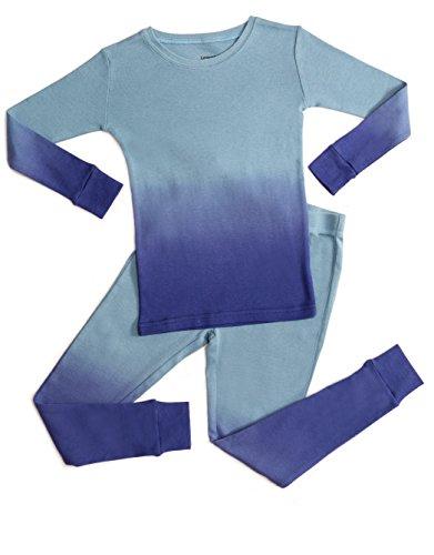 Leveret Organic Cotton Tie-Dye Blue 2 Piece Pajama Set 10 Years -